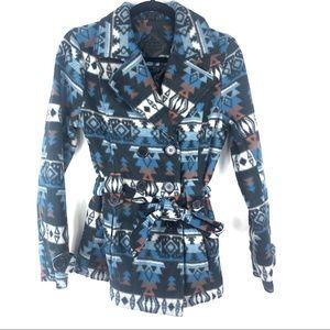 JouJou Aztec western print pea coat